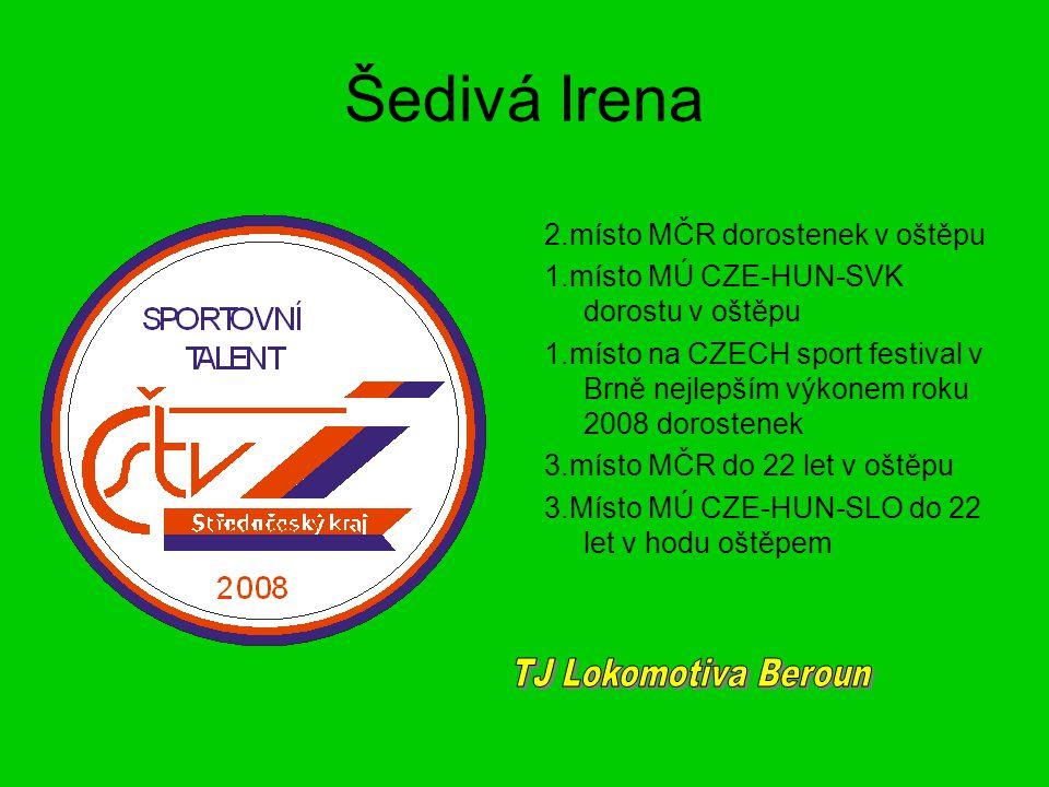 Šedivá Irena 2.místo MČR dorostenek v oštěpu 1.místo MÚ CZE-HUN-SVK dorostu v oštěpu 1.místo na CZECH sport festival v Brně nejlepším výkonem roku 200