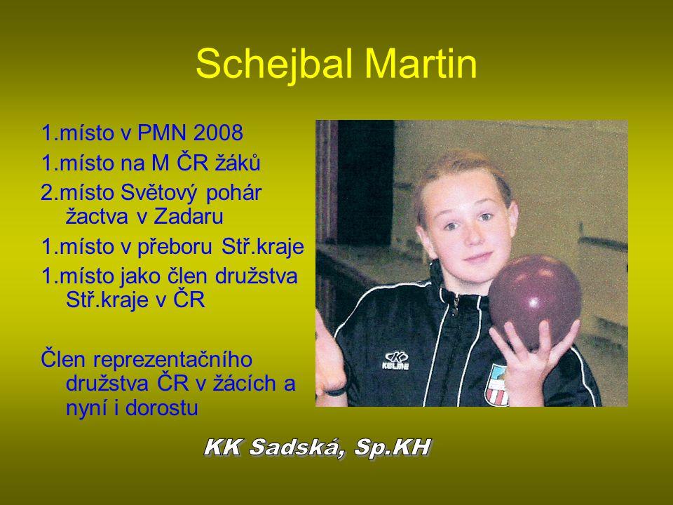 Schejbal Martin 1.místo v PMN 2008 1.místo na M ČR žáků 2.místo Světový pohár žactva v Zadaru 1.místo v přeboru Stř.kraje 1.místo jako člen družstva S