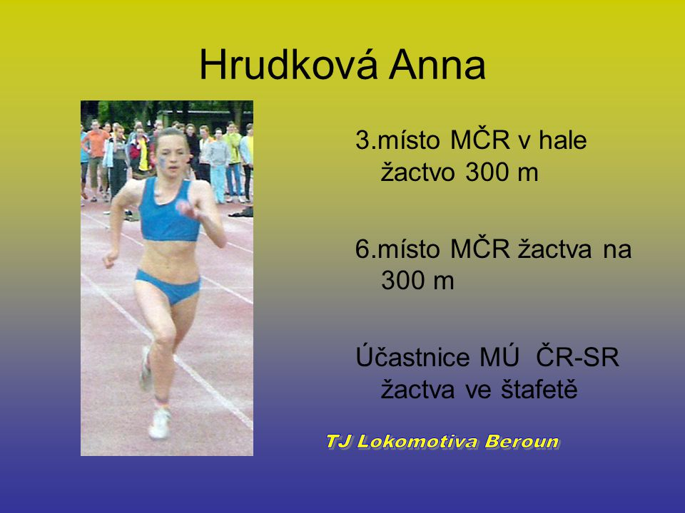 Hrudková Anna 3.místo MČR v hale žactvo 300 m 6.místo MČR žactva na 300 m Účastnice MÚ ČR-SR žactva ve štafetě