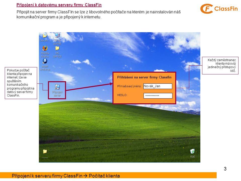 3 Přihlášení na server firmy Classfin Přihlašovací jméno: HESLO: Novák_Jan *********** Pokud je počítač klienta připojen na internet, lze se spuštěním komunikačního programu připojit na datový server firmy ClassFin.