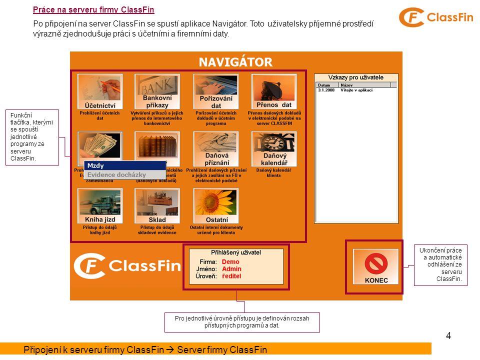4 Funkční tlačítka, kterými se spouští jednotlivé programy ze serveru ClassFin.