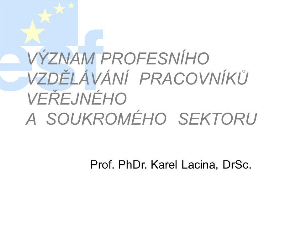 VÝZNAM PROFESNÍHO VZDĚLÁVÁNÍ PRACOVNÍKŮ VEŘEJNÉHO A SOUKROMÉHO SEKTORU Prof. PhDr. Karel Lacina, DrSc.