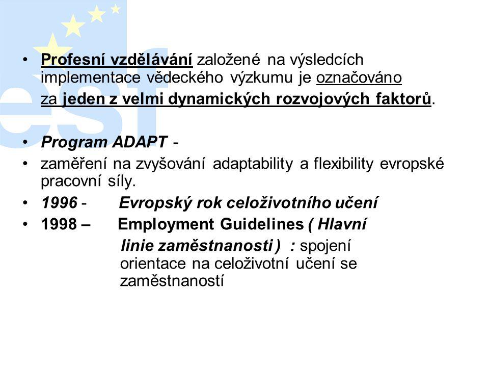 """•2000 - Lisabonská deklarace ( zasedání Evropské rady v březnu roku 2 000 ) : •""""posun k celoživotnímu učení musí doprovázet úspěšný přechod k ekonomice a společnosti založené na znalostech ."""