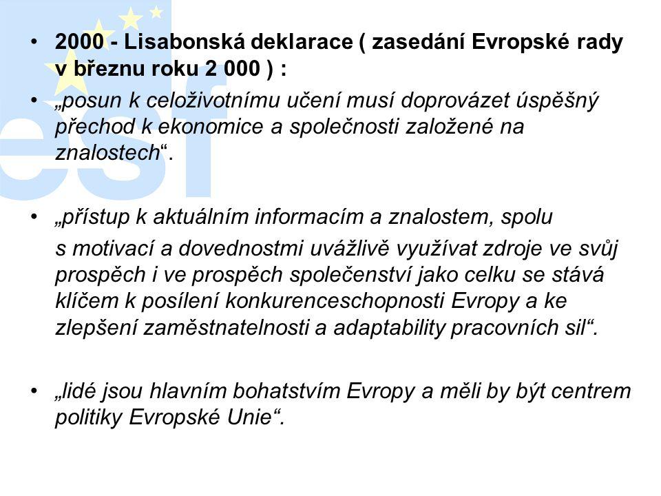 """•2000 - Lisabonská deklarace ( zasedání Evropské rady v březnu roku 2 000 ) : •""""posun k celoživotnímu učení musí doprovázet úspěšný přechod k ekonomic"""