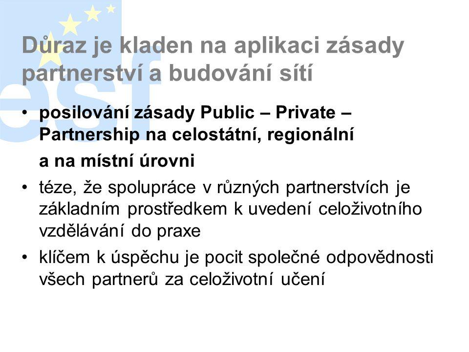 Důraz je kladen na aplikaci zásady partnerství a budování sítí •posilování zásady Public – Private – Partnership na celostátní, regionální a na místní