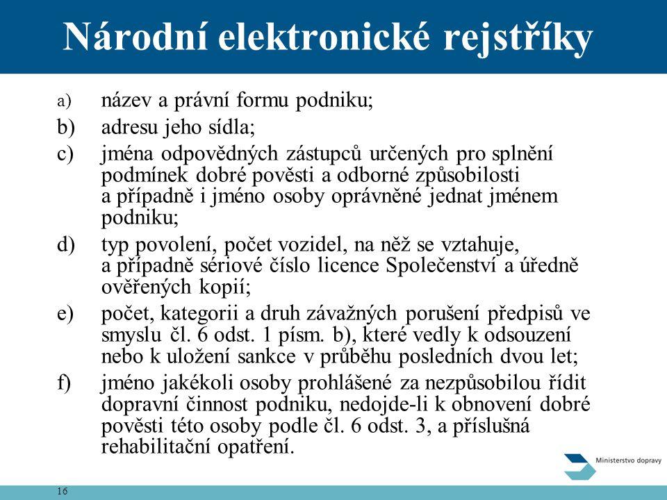 16 Národní elektronické rejstříky a) název a právní formu podniku; b)adresu jeho sídla; c)jména odpovědných zástupců určených pro splnění podmínek dob