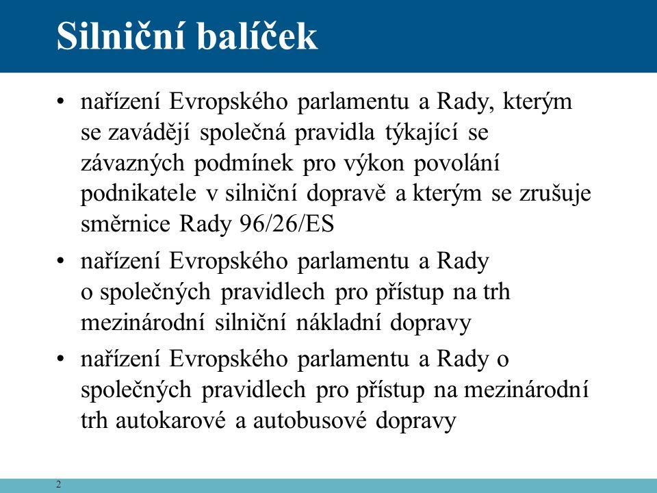 2 Silniční balíček •nařízení Evropského parlamentu a Rady, kterým se zavádějí společná pravidla týkající se závazných podmínek pro výkon povolání podn