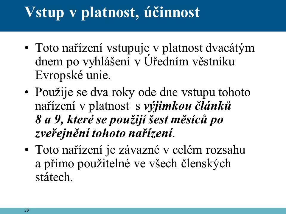 29 Vstup v platnost, účinnost •Toto nařízení vstupuje v platnost dvacátým dnem po vyhlášení v Úředním věstníku Evropské unie. •Použije se dva roky ode