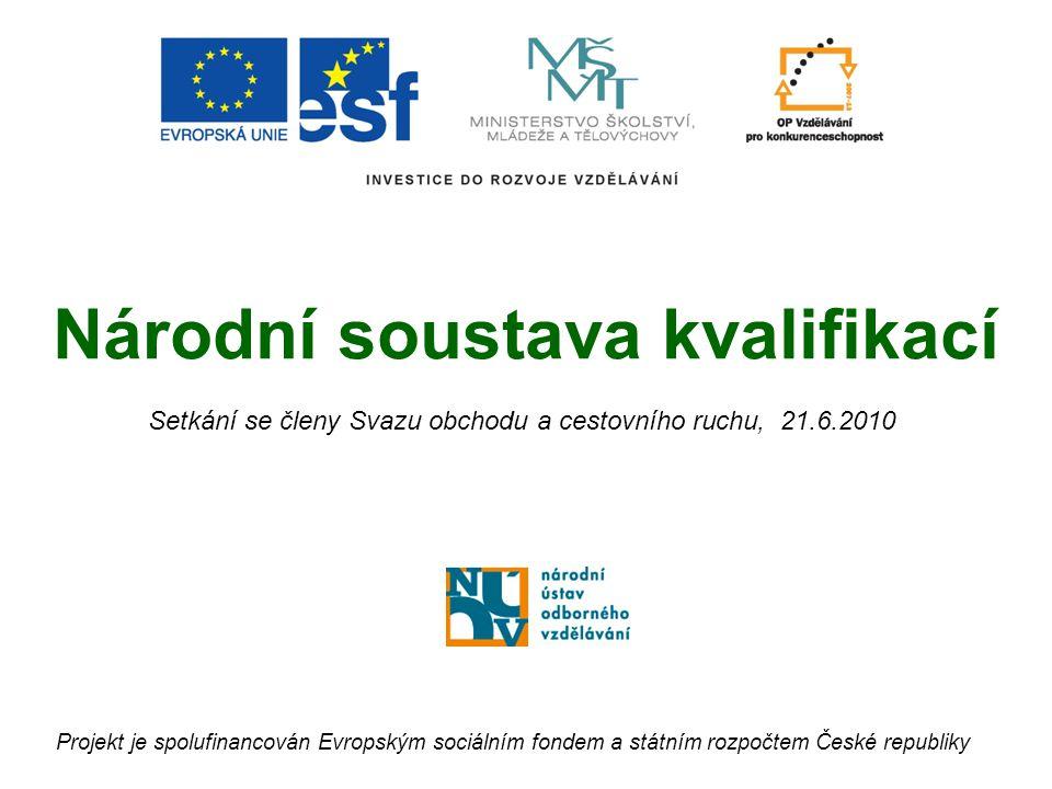 Národní soustava kvalifikací Projekt je spolufinancován Evropským sociálním fondem a státním rozpočtem České republiky Setkání se členy Svazu obchodu a cestovního ruchu, 21.6.2010
