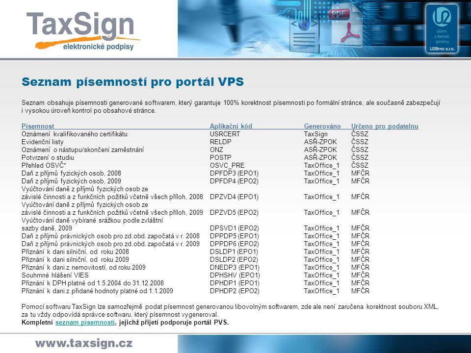Seznam písemností pro portál VPS Seznam obsahuje písemnosti generované softwarem, který garantuje 100% korektnost písemnosti po formální stránce, ale