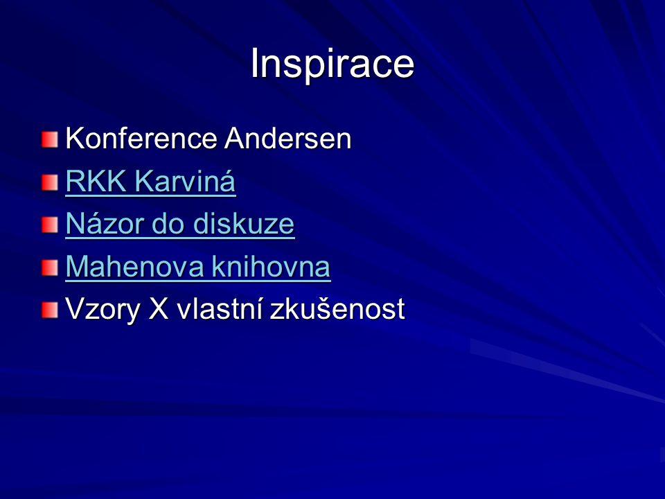 Inspirace Konference Andersen RKK Karviná RKK Karviná Názor do diskuze Názor do diskuze Mahenova knihovna Mahenova knihovna Vzory X vlastní zkušenost