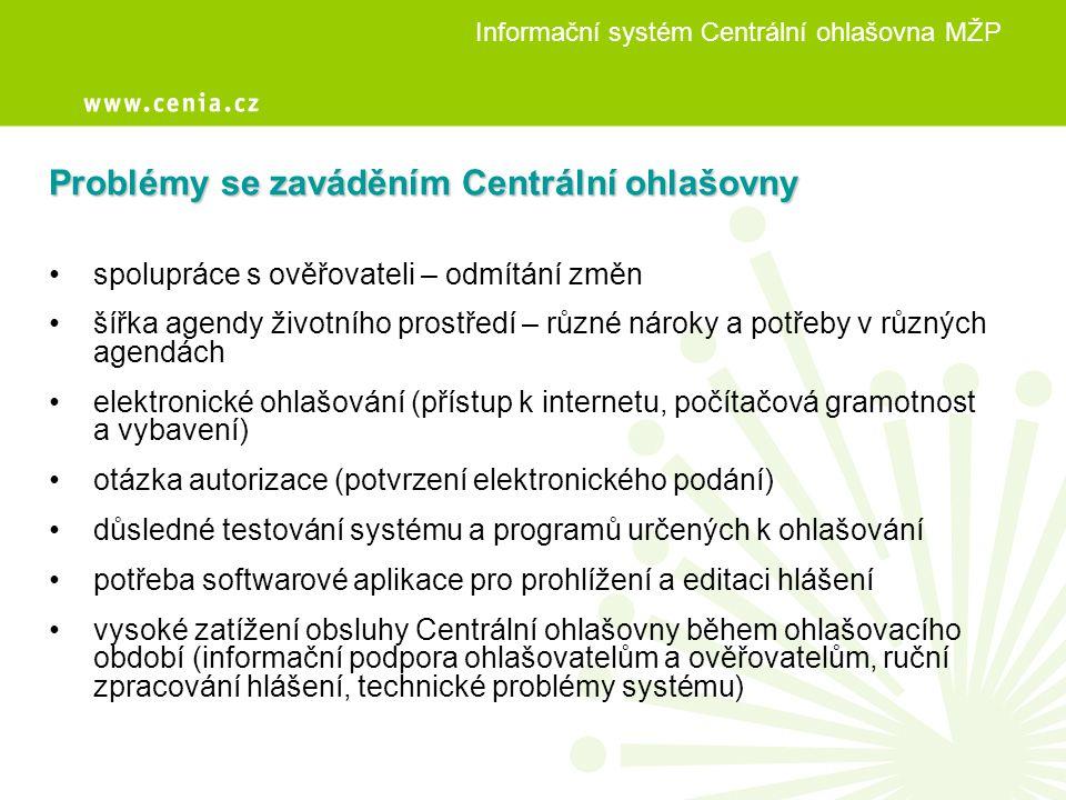 Informační systém Centrální ohlašovna MŽP Problémy se zaváděním Centrální ohlašovny • spolupráce s ověřovateli – odmítání změn • šířka agendy životníh
