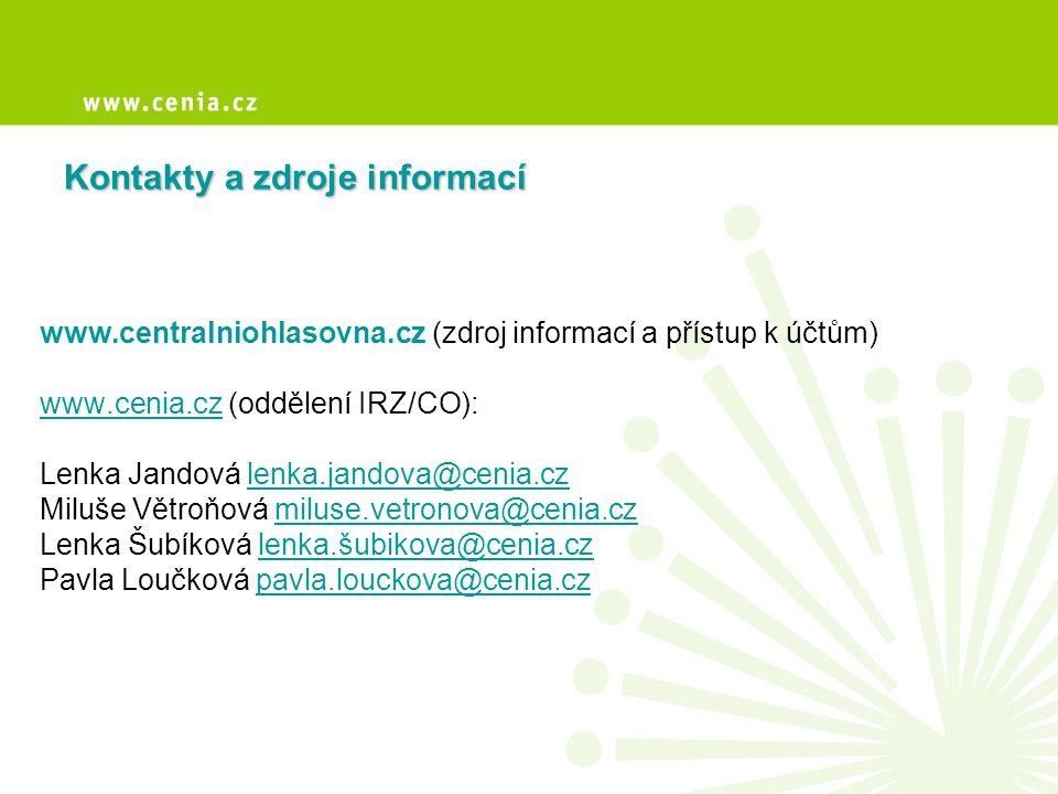 Kontakty a zdroje informací www.centralniohlasovna.cz (zdroj informací a přístup k účtům) www.cenia.czwww.cenia.cz (oddělení IRZ/CO): Lenka Jandová le
