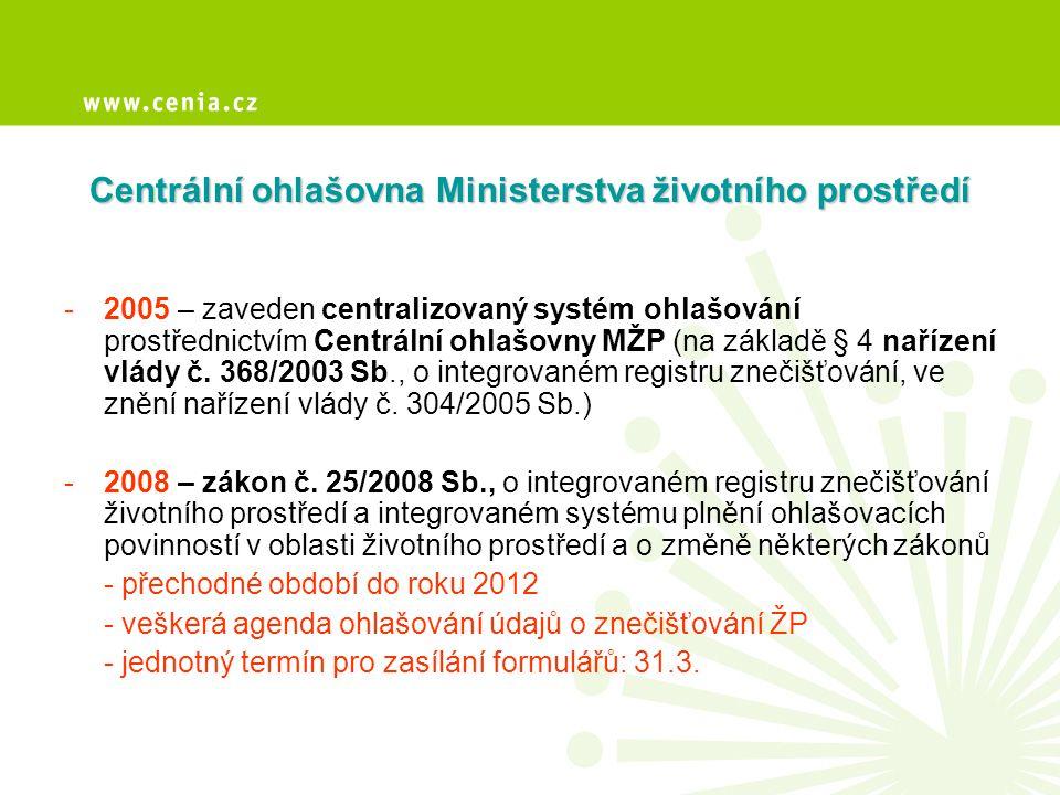 •Centrální ohlašovna je informační systém - komunikace mezi ohlašovateli a ověřovateli (dotčenými subjekty státní správy a subjekty pověřenými platnou legislativou) •příjem formulářů – zpracování – archivace – zpřístupnění ověřovatelům – poskytování datových exportů (strukturované formuláře) –zřizovatel: Ministerstvo životního prostředí –provozovatel: CENIA, česká informační agentura životního prostředí Informační systém Centrální ohlašovna MŽP Základní informace