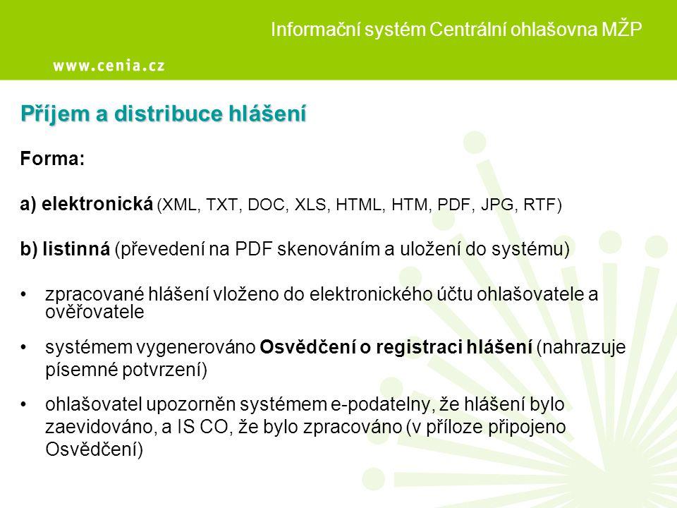 Příjem a distribuce hlášení Forma: a) elektronická (XML, TXT, DOC, XLS, HTML, HTM, PDF, JPG, RTF) b) listinná (převedení na PDF skenováním a uložení d