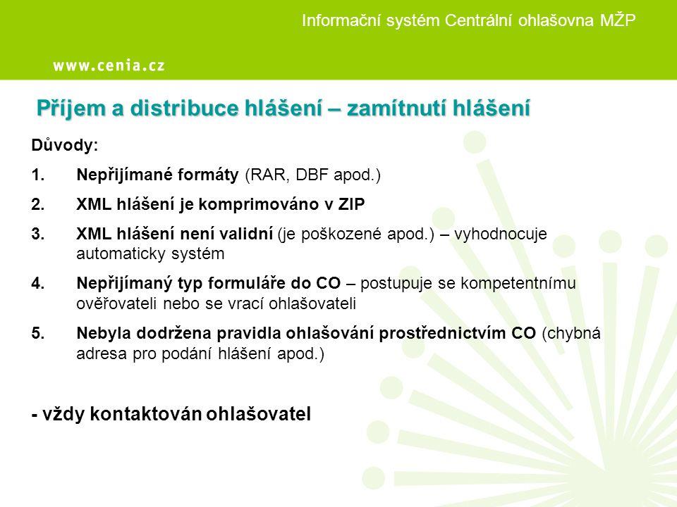Informační systém Centrální ohlašovna MŽP výběr formuláře zaslaný dokument Osvědčení o registraci hlášení přidělený ověřovatel
