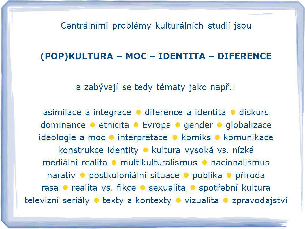 Centrálními problémy kulturálních studií jsou (POP)KULTURA – MOC – IDENTITA – DIFERENCE a zabývají se tedy tématy jako např.: asimilace a integrace  diference a identita  diskurs dominance  etnicita  Evropa  gender  globalizace ideologie a moc  interpretace  komiks  komunikace konstrukce identity  kultura vysoká vs.