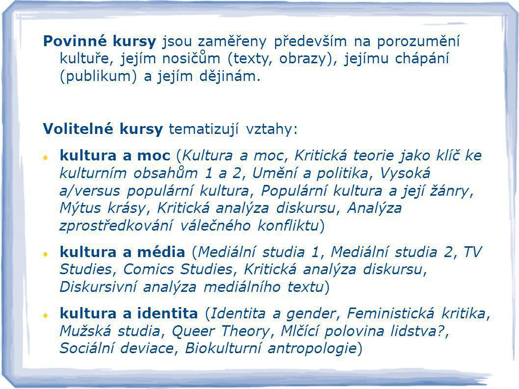 Povinné kursy jsou zaměřeny především na porozumění kultuře, jejím nosičům (texty, obrazy), jejímu chápání (publikum) a jejím dějinám.