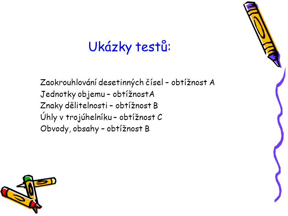 Ukázky testů: Zaokrouhlování desetinných čísel – obtížnost A Jednotky objemu – obtížnostA Znaky dělitelnosti – obtížnost B Úhly v trojúhelníku – obtíž
