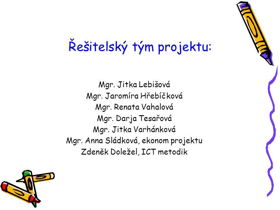 Řešitelský tým projektu: Mgr. Jitka Lebišová Mgr. Jaromíra Hřebíčková Mgr. Renata Vahalová Mgr. Darja Tesařová Mgr. Jitka Varhánková Mgr. Anna Sládkov