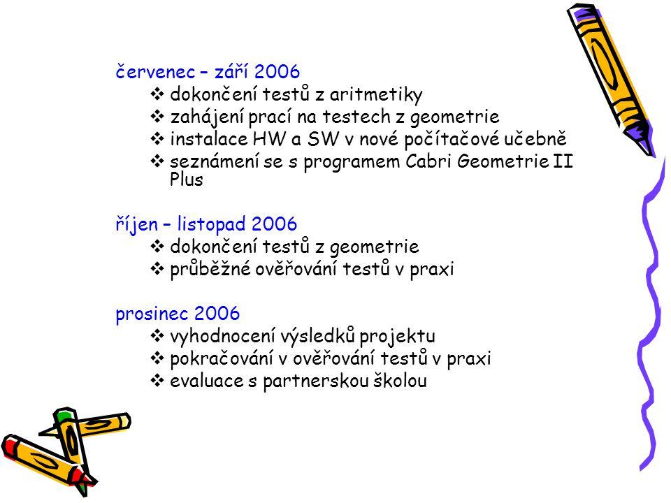 červenec – září 2006  dokončení testů z aritmetiky  zahájení prací na testech z geometrie  instalace HW a SW v nové počítačové učebně  seznámení s