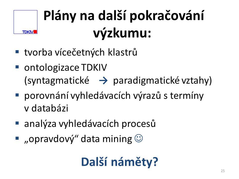 """Plány na další pokračování výzkumu: 25  tvorba vícečetných klastrů  ontologizace TDKIV (syntagmatické → paradigmatické vztahy)  porovnání vyhledávacích výrazů s termíny v databázi  analýza vyhledávacích procesů  """"opravdový data mining  Další náměty"""