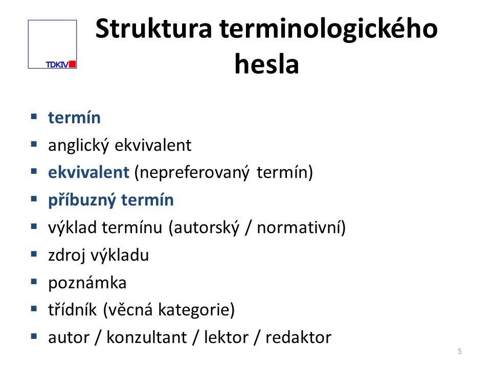 Struktura terminologického hesla 5  termín  anglický ekvivalent  ekvivalent (nepreferovaný termín)  příbuzný termín  výklad termínu (autorský / normativní)  zdroj výkladu  poznámka  třídník (věcná kategorie)  autor / konzultant / lektor / redaktor