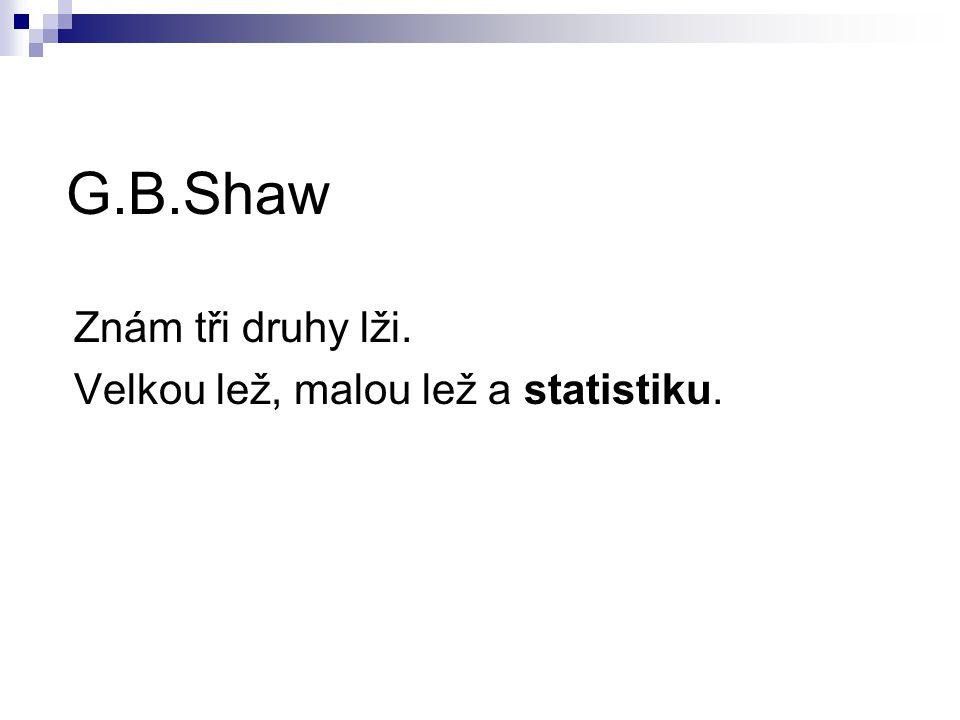 G.B.Shaw Znám tři druhy lži. Velkou lež, malou lež a statistiku.