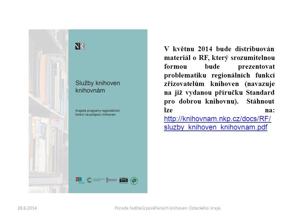 28.6.2014Porada ředitelů pověřených knihoven Ústeckého kraje V květnu 2014 bude distribuován materiál o RF, který srozumitelnou formou bude prezentovat problematiku regionálních funkcí zřizovatelům knihoven (navazuje na již vydanou příručku Standard pro dobrou knihovnu).