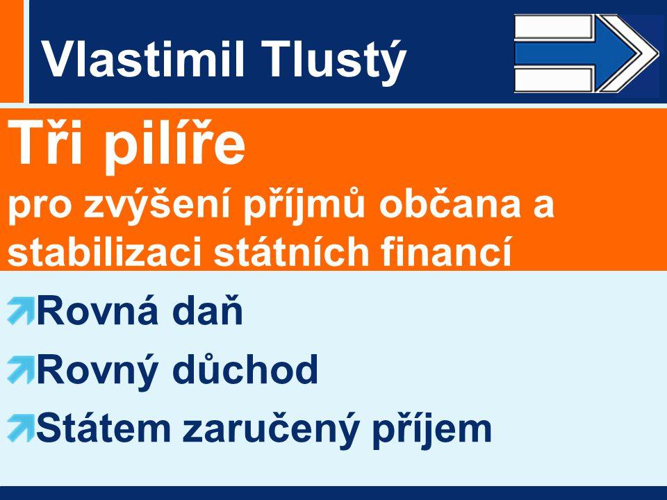 Vlastimil Tlustý Tři pilíře pro zvýšení příjmů občana a stabilizaci státních financí Rovná daň Rovný důchod Státem zaručený příjem