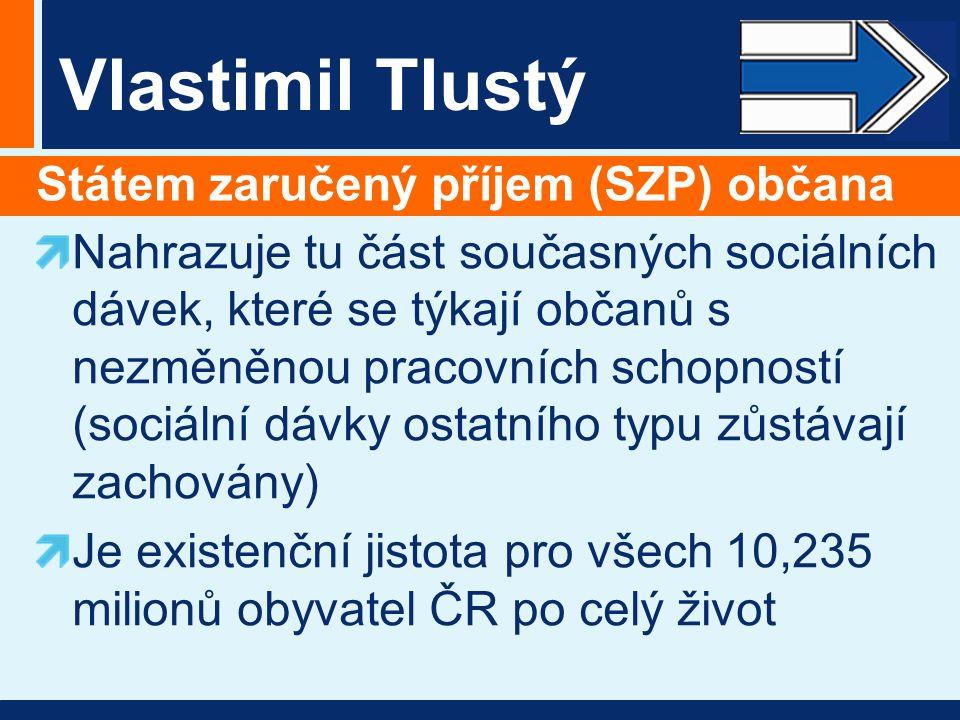 Vlastimil Tlustý Státem zaručený příjem (SZP) občana Nahrazuje tu část současných sociálních dávek, které se týkají občanů s nezměněnou pracovních sch