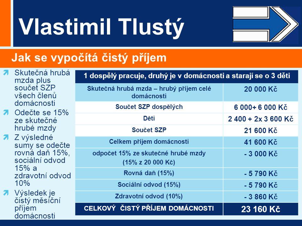Vlastimil Tlustý Jak se vypočítá čistý příjem Skutečná hrubá mzda plus součet SZP všech členů domácnosti Odečte se 15% ze skutečné hrubé mzdy Z výsled
