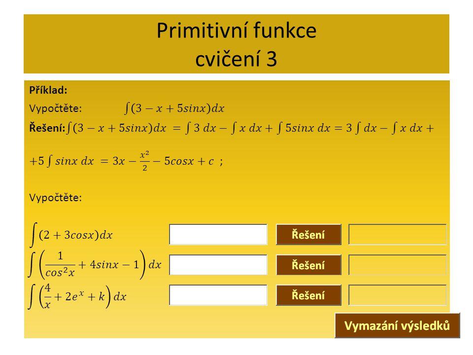 Primitivní funkce cvičení 3