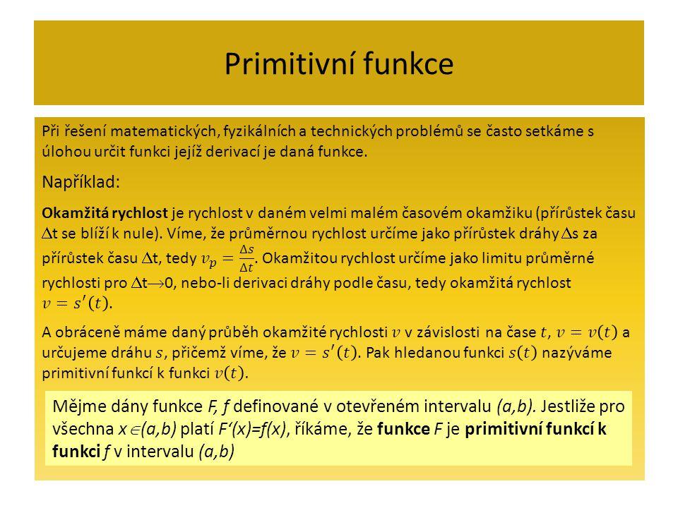 Primitivní funkce Mějme dány funkce F, f definované v otevřeném intervalu (a,b).