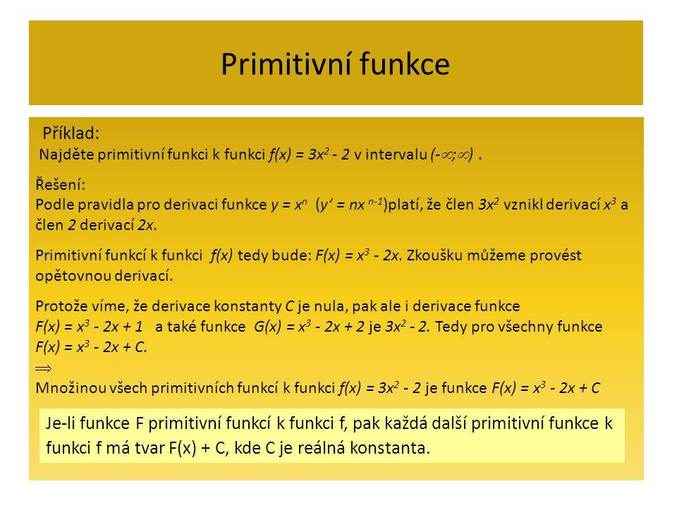 Primitivní funkce Najděte primitivní funkci k funkci f(x) = 3x 2 - 2 v intervalu (-  ;  ).