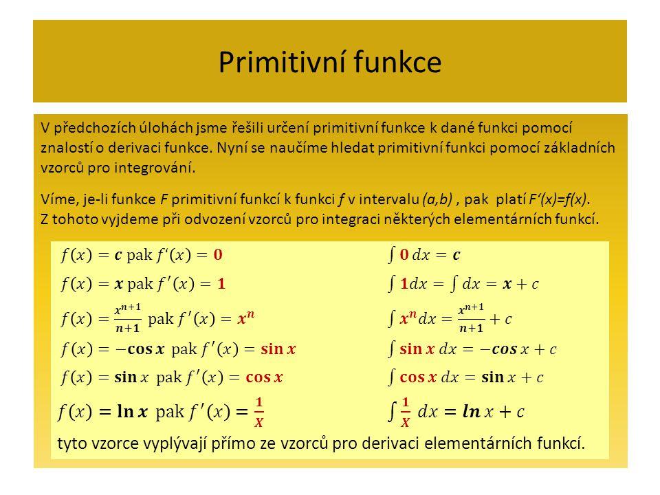 Primitivní funkce V předchozích úlohách jsme řešili určení primitivní funkce k dané funkci pomocí znalostí o derivaci funkce.