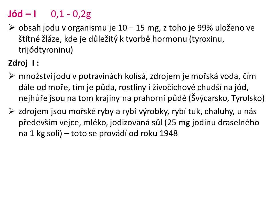 Jód – I 0,1 - 0,2g  obsah jodu v organismu je 10 – 15 mg, z toho je 99% uloženo ve štítné žláze, kde je důležitý k tvorbě hormonu (tyroxinu, trijódty