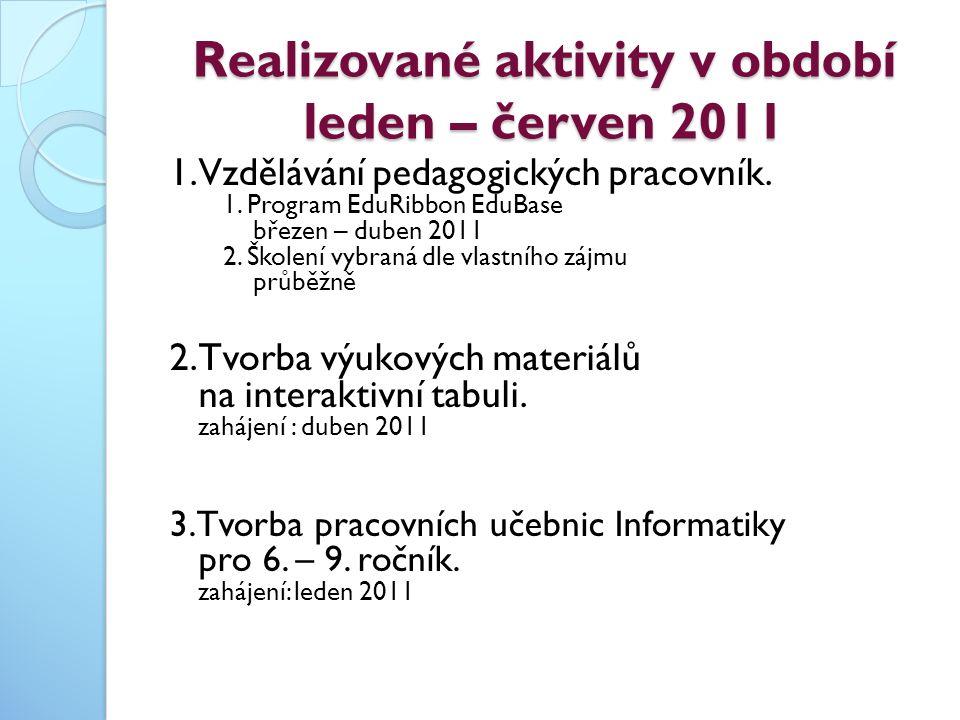 Realizované aktivity v období leden – červen 2011 1. Vzdělávání pedagogických pracovník. 1. Program EduRibbon EduBase březen – duben 2011 2. Školení v
