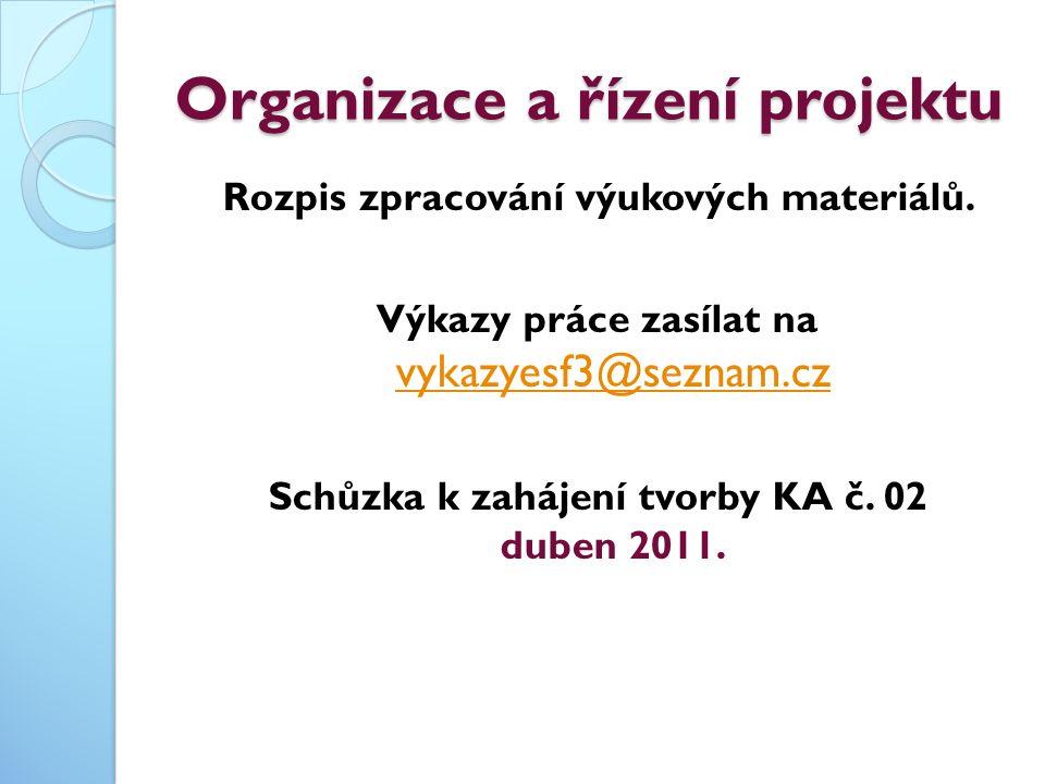 Organizace a řízení projektu Rozpis zpracování výukových materiálů.