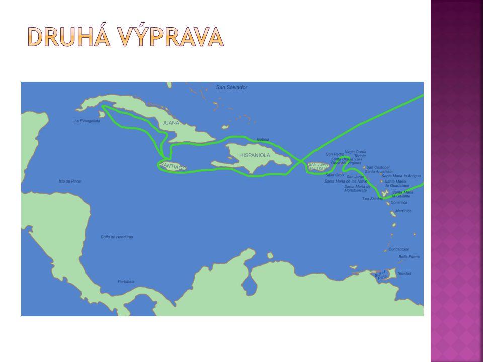  25. září 1493  objevil – ostrov Dominika, Guadeloupe, Antigua, Panenské ostrovy, Portoriko, Jamajka…