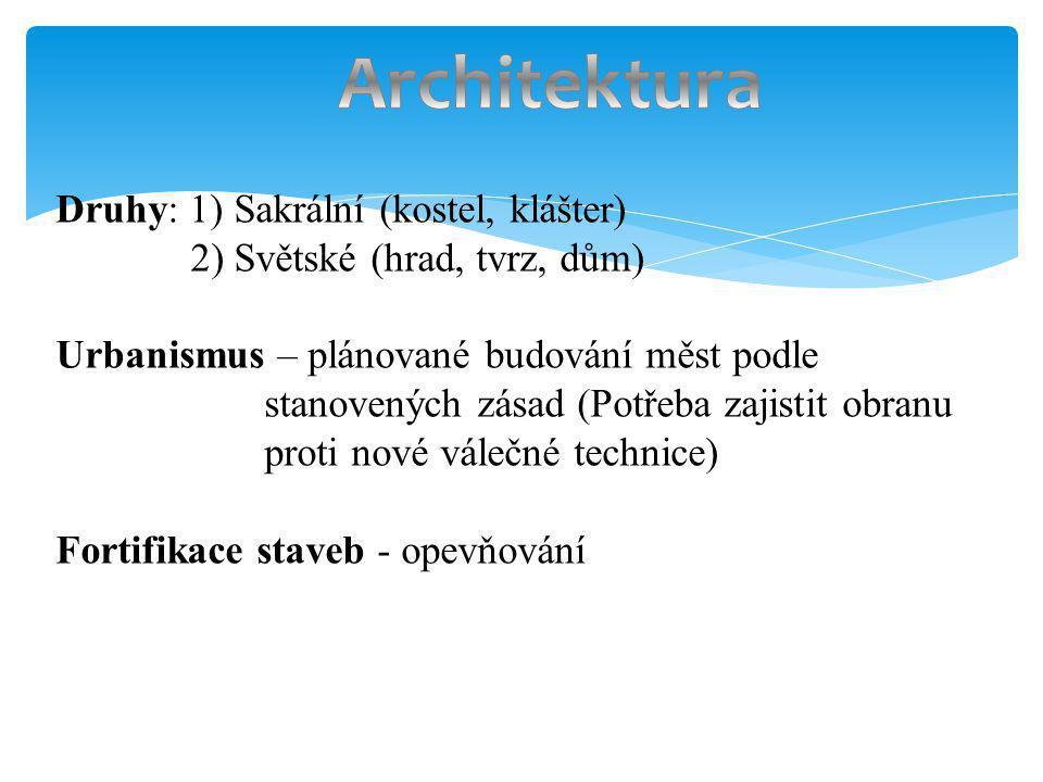 Druhy: 1) Sakrální (kostel, klášter) 2) Světské (hrad, tvrz, dům) Urbanismus – plánované budování měst podle stanovených zásad (Potřeba zajistit obran