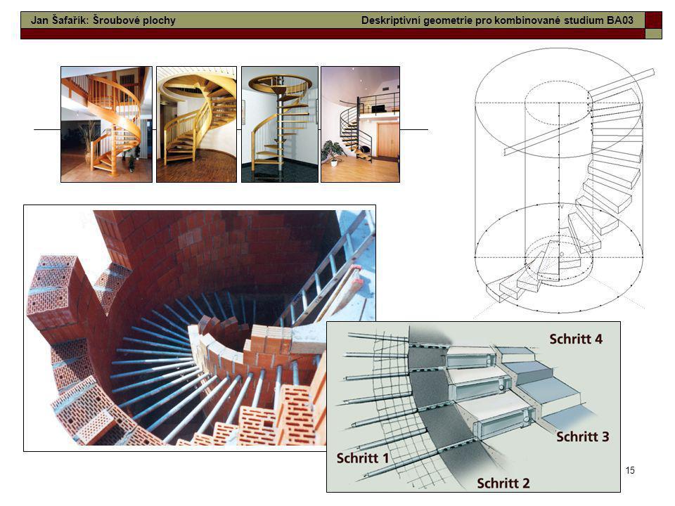 15 Jan Šafařík: Šroubové plochyDeskriptivní geometrie pro kombinované studium BA03