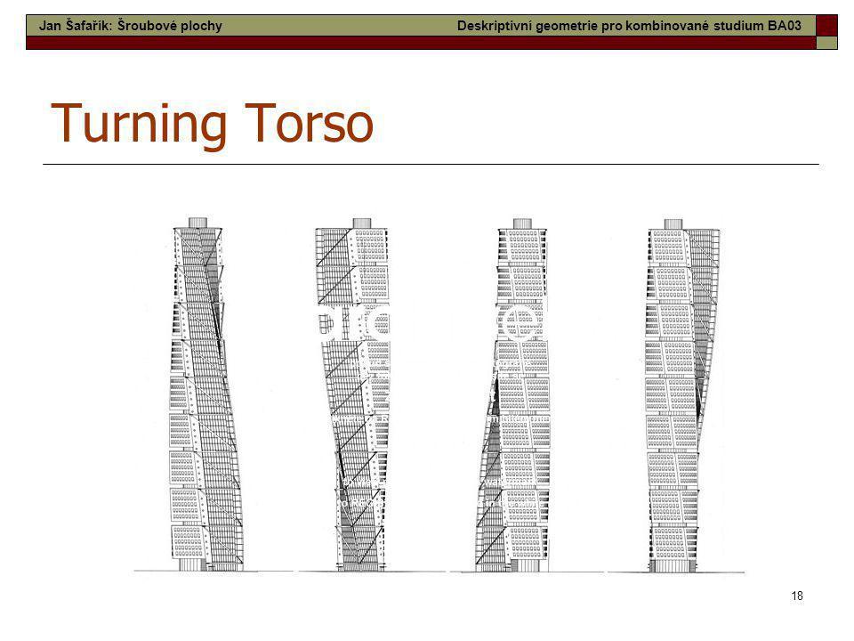 18 Turning Torso Jan Šafařík: Šroubové plochyDeskriptivní geometrie pro kombinované studium BA03
