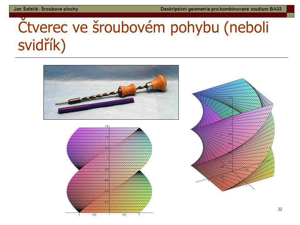 32 Čtverec ve šroubovém pohybu (neboli svidřík) Jan Šafařík: Šroubové plochyDeskriptivní geometrie pro kombinované studium BA03