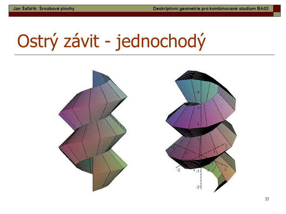33 Ostrý závit - jednochodý Jan Šafařík: Šroubové plochyDeskriptivní geometrie pro kombinované studium BA03