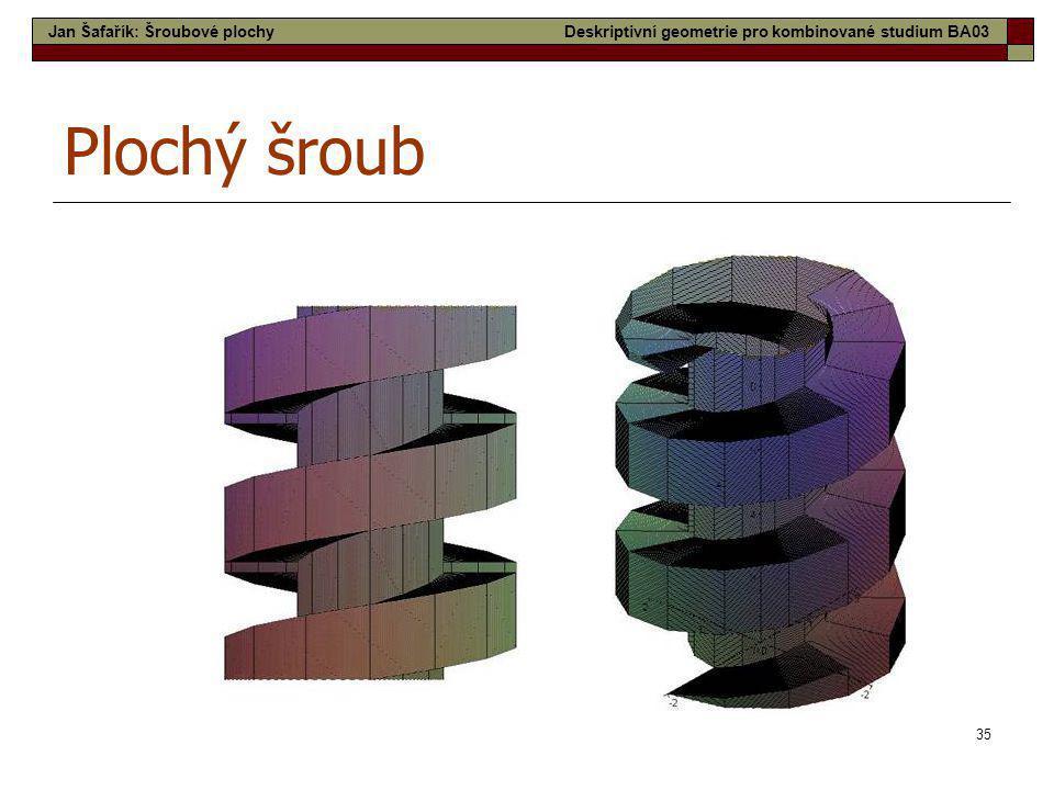 35 Plochý šroub Jan Šafařík: Šroubové plochyDeskriptivní geometrie pro kombinované studium BA03