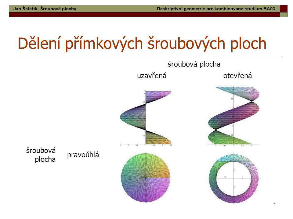 6 šroubová plocha uzavřenáotevřená šroubová plocha pravoúhlá Dělení přímkových šroubových ploch Jan Šafařík: Šroubové plochyDeskriptivní geometrie pro