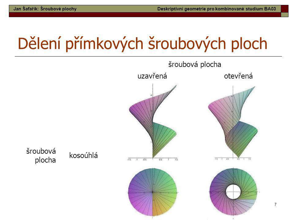 7 šroubová plocha uzavřenáotevřená šroubová plocha kosoúhlá Dělení přímkových šroubových ploch Jan Šafařík: Šroubové plochyDeskriptivní geometrie pro
