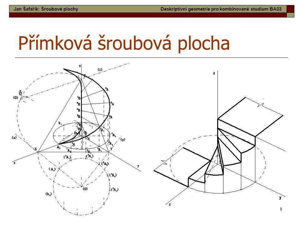 8 Přímková šroubová plocha Jan Šafařík: Šroubové plochyDeskriptivní geometrie pro kombinované studium BA03