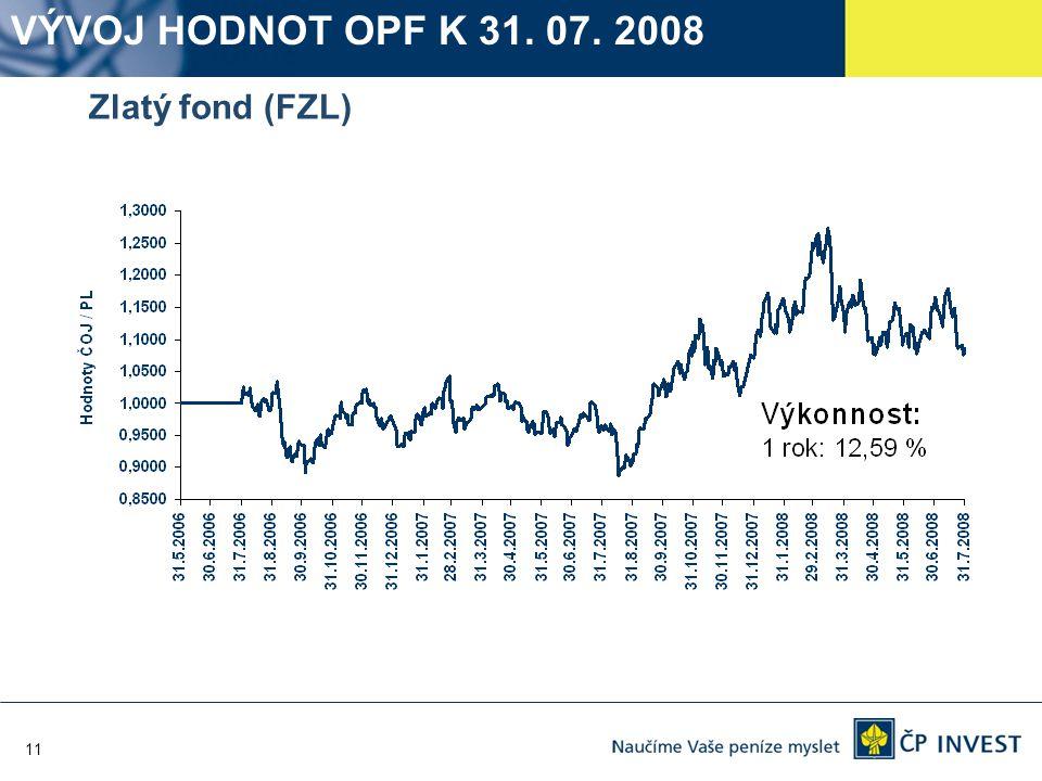 11 Zlatý fond (FZL) VÝVOJ HODNOT OPF K 31. 07. 2008